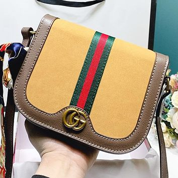 GUCCI New fashion stripe more letter leather shoulder bag women crossbody bag Yellow