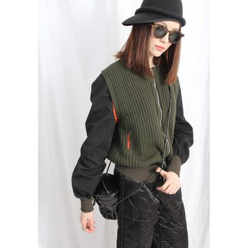 (Korean) Military Style Bomber Jacket With Knit Panels – Green/ Black Combo
