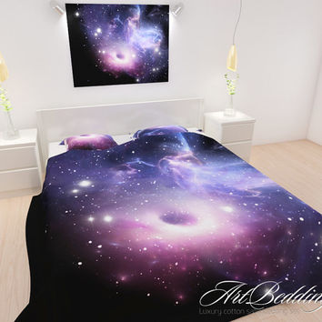 BEDDING, Galaxy Bedding, Galaxy Bedding Set, Nebula Duvet Cover, Purple Space Bedding Set, Space Universe Bedding, Stars Quilt Cover