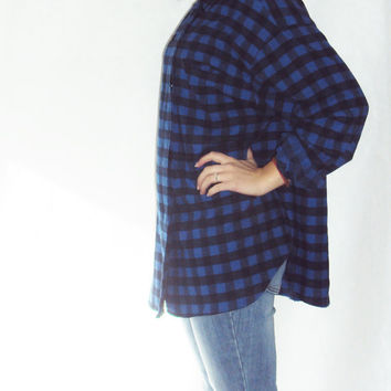 90s Plaid Shirt Oversize / Blue and Black / FLANNEL Shirt / Slouchy Shirt / Grunge 90s / Blue Black / Buffalo Plaid