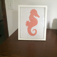 Coral colored Seahorse Silhouette Picture Frame