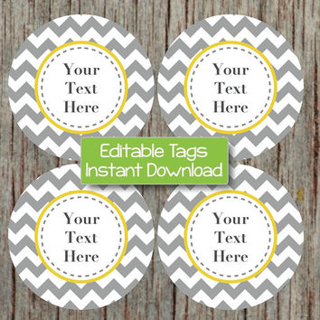 Printable Tags Editable JPG Yellow Grey INSTANT DOWNLOAD Labels Cupcake Toppers Favor Tags Stickers Printable Party Supplies Baby Shower 001
