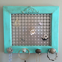 Earring frame, jewelry display and organizer, distressed turquoise