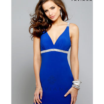 Preorder - Faviana 7662 Royal Beaded Strap Low Back Jersey Dress 2015 Homecoming Dresses