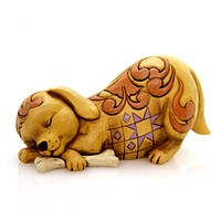 Jim Shore DOGGONE TIRED Polyresin Pint Size Lazy Dog 4052076