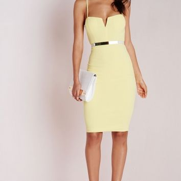 Missguided - Plunge Zip Back Midi Dress Lemon