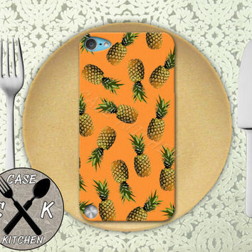 Pineapple Pattern Orange Cute Summer Fruit Tropical Custom Rubber Case iPod 5th Generation and Plastic Case For The iPod 4th Generation