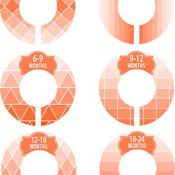 Custom Baby Closet Dividers Girl Orange Ombre Geometric Stripes Nursery Closet Dividers Baby Shower Gift Baby Clothes Organizers Baby