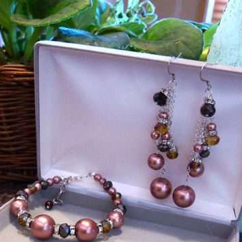Elegant Statement Bracelet Pierced Earring set, Dark Pink Pearl, Clear, Brown beads, Rondelle, Silver chain, lobster clasp, Mothers Day