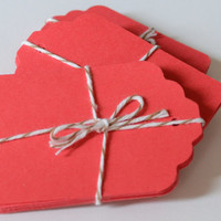 Large Red Paper Tags, Die Cut Tag, Christmas Gift Tags, 20 Labels, Red Die Cuts