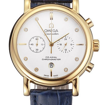 Omega Seamaster Vintage Chronograph White Dial Diamond Hour Marks Gold Case Blue Leather Strap