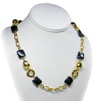 Monet Black and Gold Chain Necklace