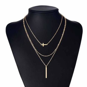 Retro simple copper beads chain alloy cross metal rod 3 layer Set Pendant Necklaces Bohemian jewelery