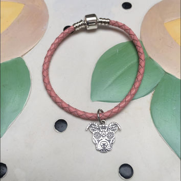 Sugar Skull Pit Bull Sterling Silver Charm On A Leather Bracelet