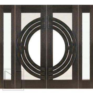"Prehung Double 2-1/4"" Thick Mahogany Doors Sidelites Low-E Glass Iron Work"