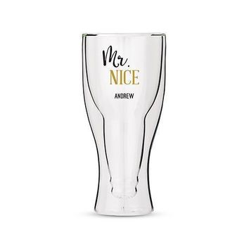 Personalized Double Walled Beer Glass Mr. Nice Print (Pack of 1)