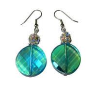 Aqua Crystal Beaded Dangle Earring