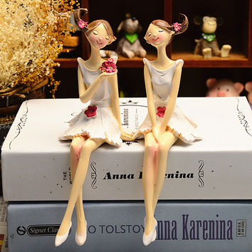 2pcs Resin Flower Fairy Doll Model Home Desktop Statue Decoration Figurines Gift for Girl Figures Furnishing Ornaments Toy