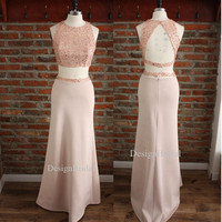 2015 Pink Sexy Prom Dress, Two-piece Set Prom Dress,Waist Revealing Prom Dress,Sequin Crop To Long Prom Gown,Two pieces Wedding Dress Outfit