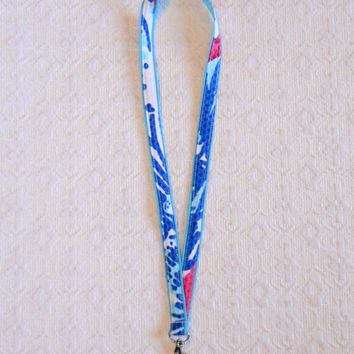 Aqua Blue Lilly Pulitzer She She Shells Fabric Lanyard