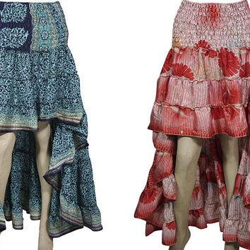 Free and Easy Boho Summer 2pc Hi Low Skirt Recycled Vintage Sari Gypsy Fashion Long Ruffle Flirty Flare Summer Skirts S/M