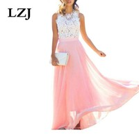 LZJ New Arrival 2018 Sring Evening Party Hollow Out Beach Dress Womens Boho Sleeveless Maxi Dress Party dresses her accessories