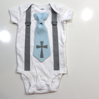 Baby Boy Baptism Outfit, boy baptism outfit, infant boy, toddler boy, christening outfit, cross tie, blue tie, baptism bodysuit, newborn