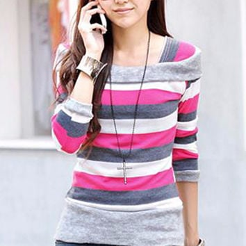 Long Sleeve Off Shoulder Accent Striped Sweatshirt