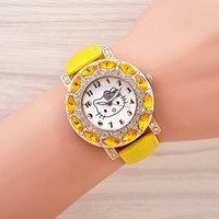 Fashion hello kitty watch girl kids women leather strap dress