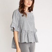 Morning Rise Peplum Stripe Top