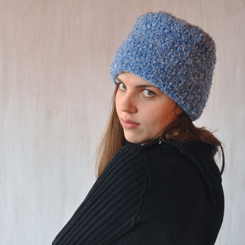 Crochet hat, toque hat, pillbox hat, winter hat, original, blue, boucle yarn, chunky warm, elegant, stylish, OOAK