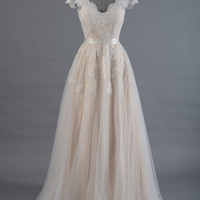Lace wedding dress, wedding dress, bridal gown, cap sleeve V-back alencon lace with tulle skirt.
