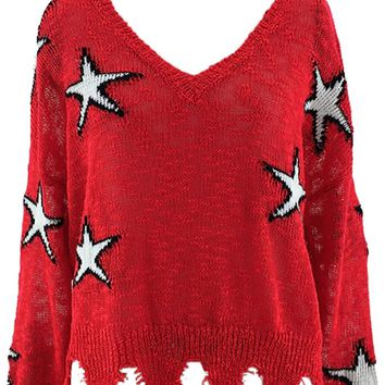 Star Search Red White Star Pattern Long Sleeve V Neck Distressed Hem Pullover Sweater