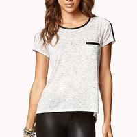 Faux Leather-Trimmed Top