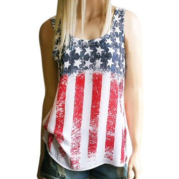 Women Tank Tops American Flag Printing 2017 New Sleeveless Crop Top Vest Causal Round Collar Blusa T-Shirt