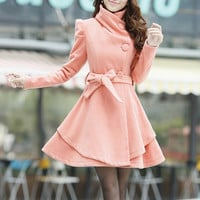 Khaki / Orange /Green/ Pink  wool women coat women dress coat Apring Autumn Winter --CO062
