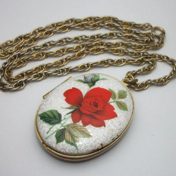 Vintage White Guilloche Red Rose Locket Pendant Necklace - Gold Tone Metal - 24 inch chain - Early Mid Century Enamel Floral Flower Locket