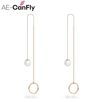 Simple Extra Long Dangle Earring Pearl Chain Line Tassel Drop Earrings for Women 1B2027