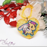 Cute bunny and unicorn resin charm necklace, yellow heart charm pendant, yellow necklace, tokidoki My Melody pendant, necklace for girls