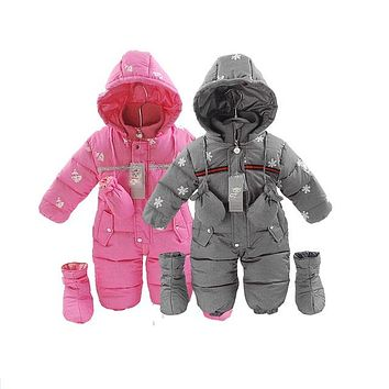 Sardiff Russia winter Baby Snowsuit Infant Down Rompers 9-24 M Jumpsuit Girl Winter Clothes Infant Girl Coats kids Warm