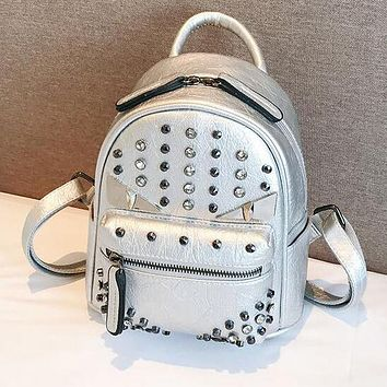 FENDI Popular Women PU Leather Rivet Shoulder Bag Backpack Daypack Silvery