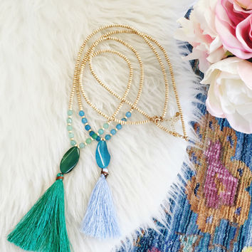 Serendipity Mala Necklaces - Blue or Green