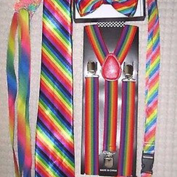 Men's Rainbow Stripes Adjustable Bow tie,Neck Tie,Suspenders,Lanyard,Shoelaces18