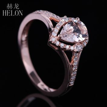 HELON Women's Pear Shaped 10K Rose Gold 0.6ct Morganite Diamond Engagement Ring