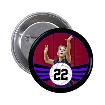 Purple & Black Volleyball Photo and Jersey Number Button