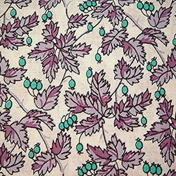 "Vintage 1970s Fabric Purple Lavender Turquoise 36"" wide Leaves and Berries"
