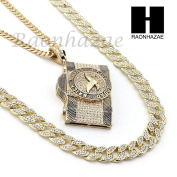 BRICK SQUAD CAMERA PENDANT 6mm CUBAN / 12mm ICED OUT CUBAN CHAIN NECKLACE S03