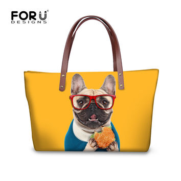 2017 Fashion Women Handbag High Quality Shoulder Bags French Bulldog Cat Designer Ladies Shopping Bags Large Travel Bags Mochila