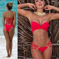 Sexy Bandeau One-piece Push-up Padded Bikini Bathing Suit Swimwear Swimsuit SML = 1955871876