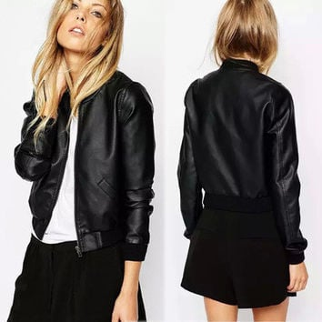 Women Leather Black Long Sleeve Zipper Outerwear Jacket _ 7848